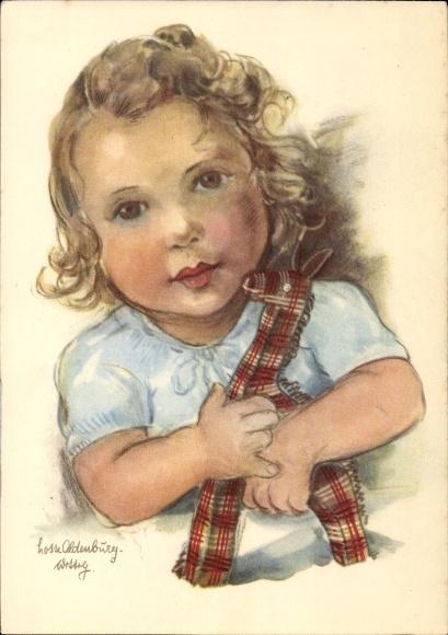 Künstler Ak Oldenburg Wittig, Charlotte, Mädchen mit Plüschgiraffe im Arm