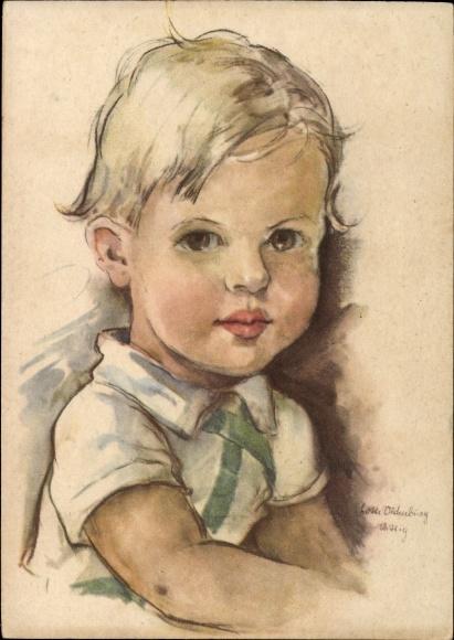 Künstler Ak Oldenburg Wittig, Charlotte, Portrait von einem blonden Jungen