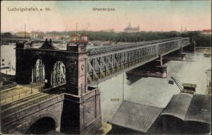 Ak Ludwigshafen am Rhein Rheinland Pfalz, Blick auf die Rheinbrücke