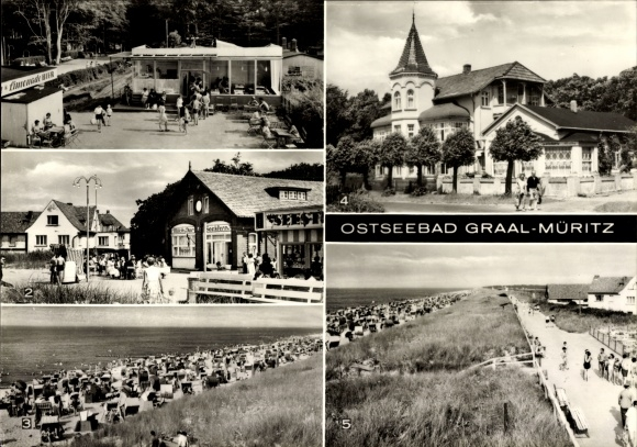 Riesen Ak Graal Müritz im Kreis Rostock, Milchbar Seestern, Strandpartie, Teilansicht der Stadt