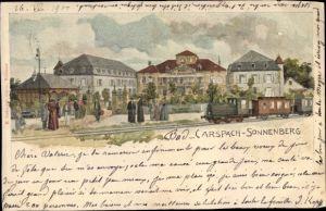 Litho Carspach Elsass Haut Rhin, Sonnenberg, Château Sonnenberg, Chemin de fer, Dampflok