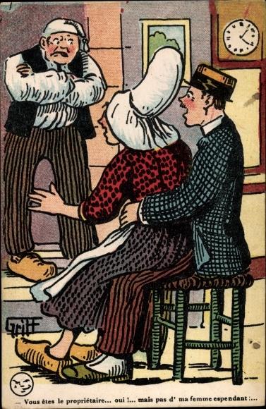 Künstler Ak Griff, Vous êtes le propriétaire, Ehefrau mit Freier, Ehemann, Humor