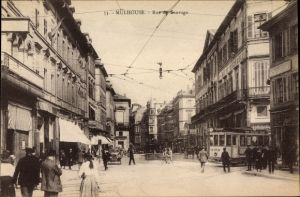 Ak Mulhouse Mülhausen Elsass Haut Rhin, Rue de Sauvage, Straßenbahn 225, Passanten