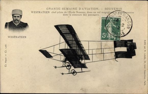 Ak Grande Semaine d'Aviation, Westrateen, Chef Pilote de l'Ecole Sommer, Biplan, Flugpioniere