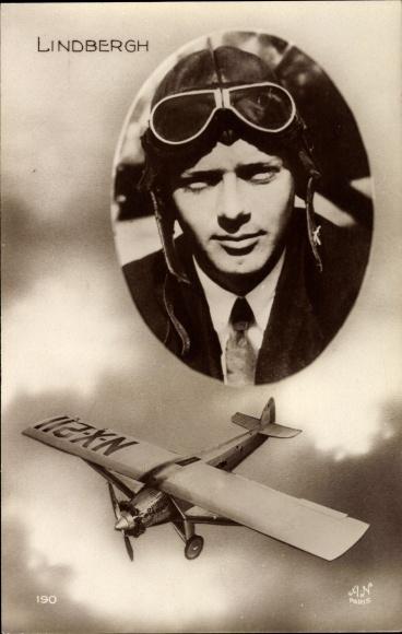 Ak Charles Lindbergh, Erste Alleinüberquerung des Atlantiks, NX-211, Spirit of St. Louis,Flugpionier