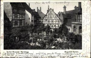 Ak Nürnberg in Mittelfranken Bayern, Blick auf den Braustübl Garten der Tucher Brauerei