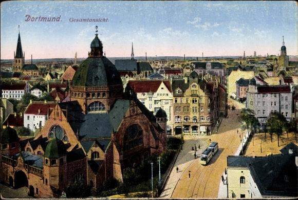Ak Dortmund im Ruhrgebiet, Gesamtansicht, Vogelschau, Synagoge