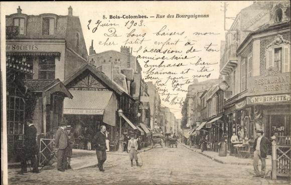 Ak Bois Colombes Hauts de Seine, Rue des Bourguignons, Straßenpartie