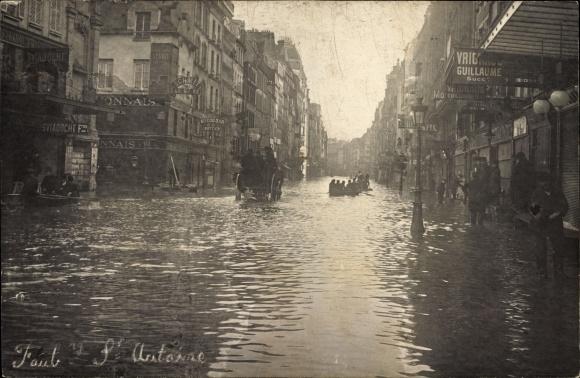 Foto Ak Paris Faubourg, Rue du Faubourg Saint Antoine, Crue de 1910