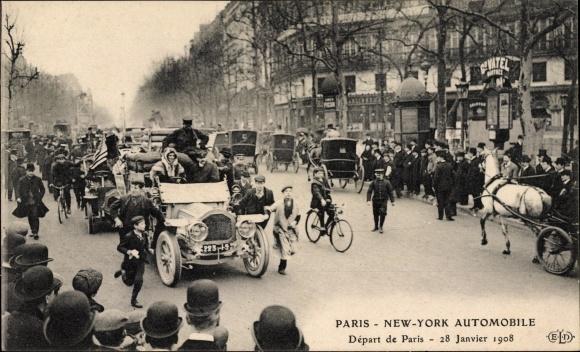 Ak Paris, En Route à New York en Automobile, Départ de Paris le 28. Janvier 1908