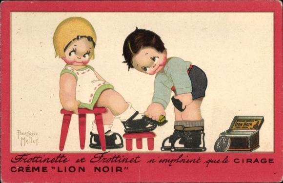 Künstler Ak Mallet, Beatrice, Crème Lion Noir, Schuhcreme, Reklame, Frottinette, Frottinet