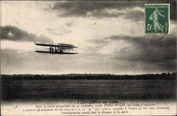Ak La Conquête de l'Air, 21. Septembre 1908, Wilbur Wright, Camp d'Auvours