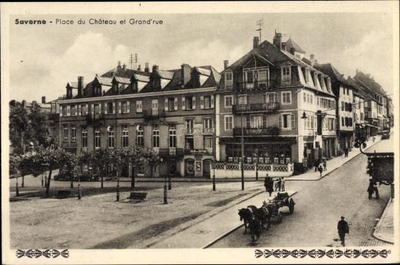Ak Saverne Zabern Elsass Bas Rhin, Place du Chateau et Grand' Rue, Straßenpartie
