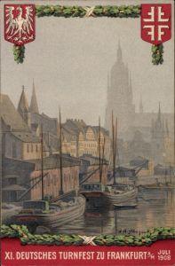 Künstler Ak Frankfurt Main, XI. Deutsches Turnfest, Juli 1908, Hafenpartie, Kirche