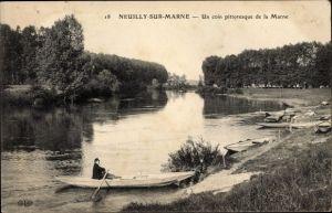 Ak Neuilly sur Marne, Un coin pittoresque de la Marne, Flusspartie, Ruderboot