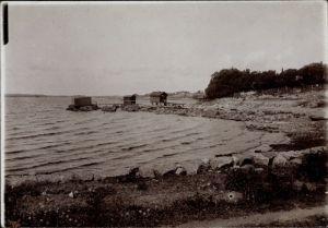 Foto Wyborg Wiborg Viipuri Russland, Küstenpartie mit Badehäuschen