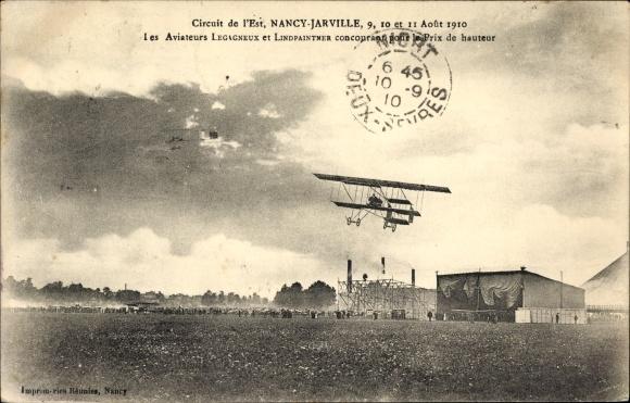 Ak Jarville-la-Malgrange Lothringen Meurthe et Moselle, Les Aviateurs Legagneux et Lindpaintner 1910