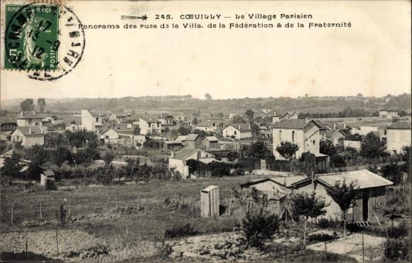 Ak Coeuilly Cœuilly Val de Marne, Village Parisien, Rues de la Villa, de la Federation, Fraternité