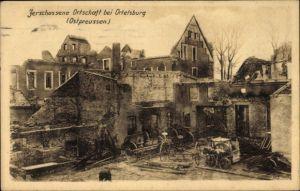 Ak Szczytno Ortelsburg Ostpreußen, Zerschossene Ortschaft, Kriegszerstörungen, I. WK