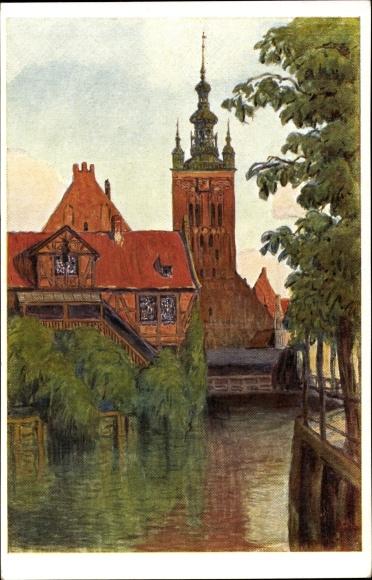 Künstler Ak Hellingrath, B., Gdańsk Danzig, Müllergewerkshaus mit Katharinenkirche