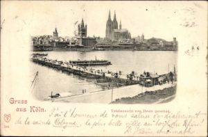 Ak Deutz Köln am Rhein, Totalansicht von Deutz gesehen