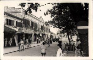 Foto Ak Tourane Da Nang Vietnam, Straßenszene im Ort, Vietnamesen