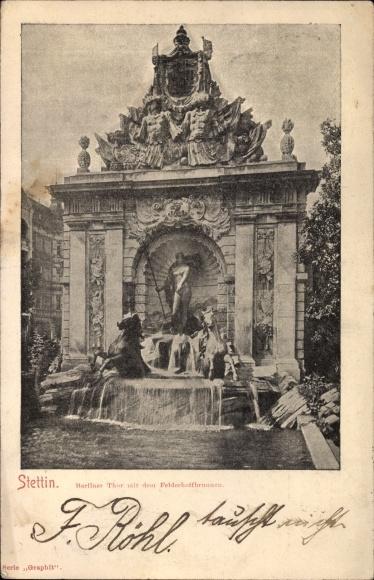 Ak Szczecin Stettin Pommern, Berliner Tor mit dem Felderhoff Brunnen