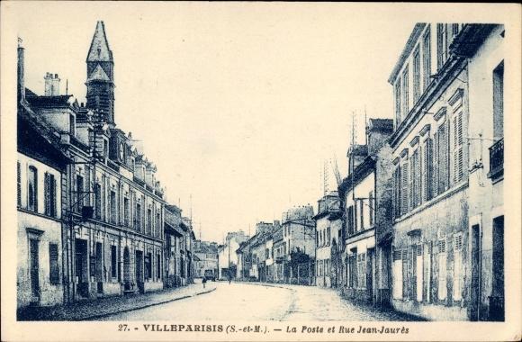 Ak Villeparisis Seine et Marne, La Poste et Rue Jean Jaures