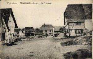 Ak Eglingen Elsass Haut Rhin, Rue Principale, Straßenpartie, Wohnhäuser u. Trümmer, Zerstörung I.WK