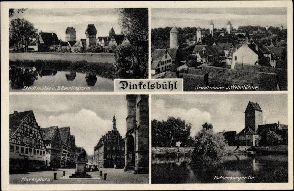 Ak Dinkelsbühl im Kreis Ansbach Mittelfranken, Stadtmühle und Bäuerlinsturm, Markt, Rothenburger Tor