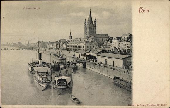 Ak Köln am Rhein, Blick zur Frankenwerft aus der Vogelschau