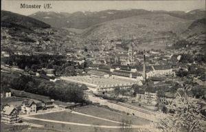 Ak Munster Münster Elsass Haut Rhin, Panoramablick auf die Stadt, Bahnstrecke