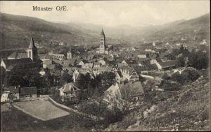 Ak Munster Münster Elsass Haut Rhin, Panoramablick auf die Stadt