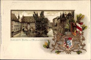 Präge Wappen Passepartout Litho Nürnberg in Mittelfranken, Partie an der Museumsbrücke