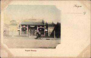 Ak Saigon Cochinchine Vietnam, Pagode Chinoise, Chinesische Pagode, Rikscha