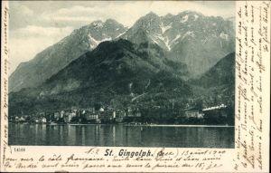 Ak Saint Gingolph Kt. Wallis, Wasserblick zum Ort, Gebirgswand