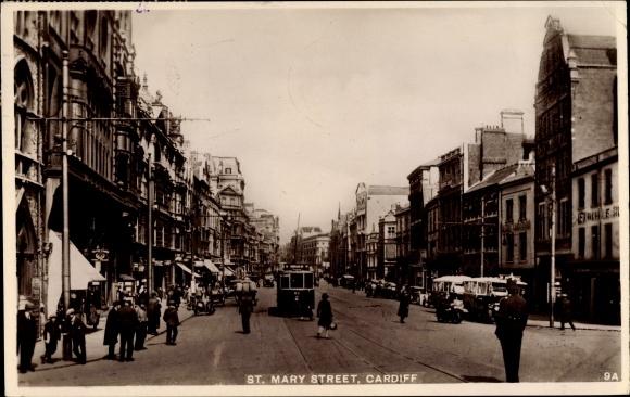 Ak Cardiff Wales, St. Mary Street, Straßenpartie