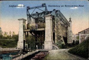 Ak Waltrop im Ruhrgebiet, Schiffshebewerk, Henrichenburg am Dortmund Ems Kanal