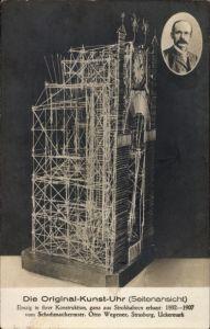 Ak Strasburg in der Uckermark, Otto Wegener, Original Kunst Uhr, Konstruktion aus Strohhalmen