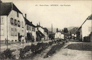 Ak Roderen Elsass Haut Rhin, Rue Principale, Straßenpartie im Ort