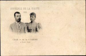 Ak Paris, Zar Nikolaus II. von Russland, Alexandra Fjodorowna, Zarenpaar, Visite 1896