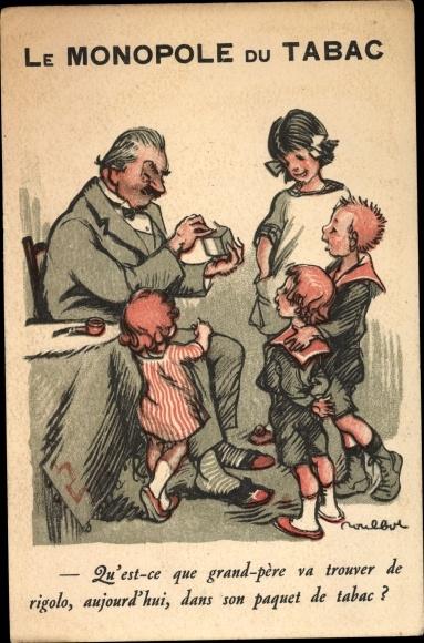 Künstler Ak Poulbot, Francisque Le Monopole du Tabac, Mann mit Tabak, Kinder