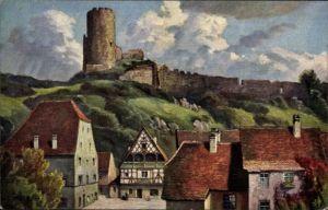 Künstler Ak Bürger, W., Kaysersberg Kaysersberg Elsass Haut Rhin, Blick auf die Burg