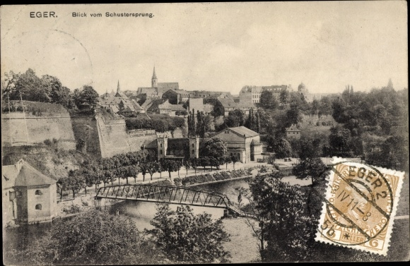 Ak Eger Reg. Karlsbad, Blick vom Schustersprung, Brücke