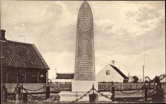 Ak Skagen Frederikshavn Dänemark, Mindestøtten, Ansicht vom Denkmal