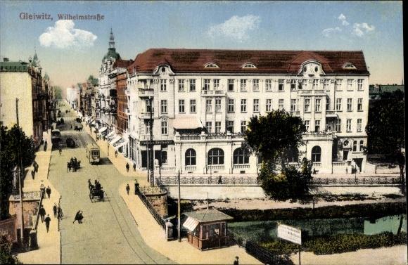 Ak Gliwice Gleiwitz Schlesien, Wilhelmstraße, Brücke