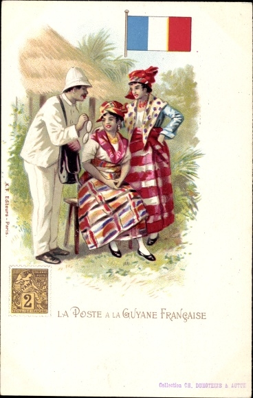 Briefmarken Ak Französisch-Guayana, La Poste à la Guyane Francaise, Postbote