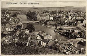 Ak Bad Kreuznach in Rheinland Pfalz, Blick auf Stadt von der Kauzenburg