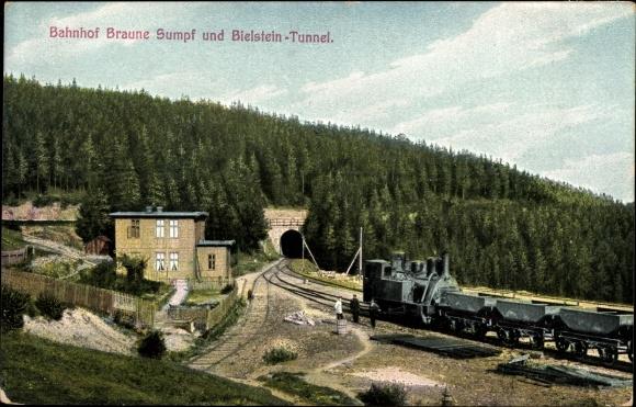 Ak Hüttenrode Blankenburg am Harz, Bahnhof Braune Sumpf, Bielstein Tunnel, Bahnstrecke, Zahnradbahn