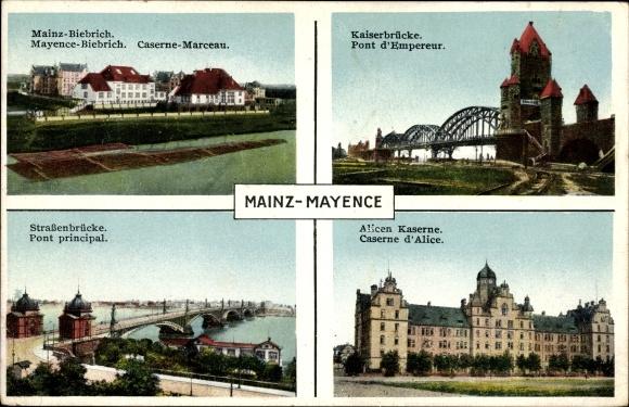 Ak Mainz in Rheinland Pfalz, Mainz Biebrich und Alicen Kaserne, Straßenbrücke, Kaiserbrücke